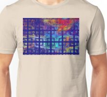 Abstract Blue Psychedelic Tiled Fractal Flame Unisex T-Shirt