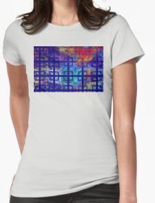 Abstract Blue Psychedelic Tiled Fractal Flame Womens Fitted T-Shirt