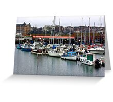 Boats - Scarborough Harbour Greeting Card