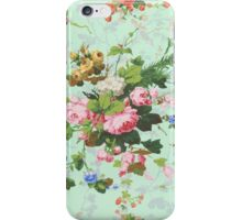 Vintage rose flowers floral roses pattern turquoise background antique print iPhone Case/Skin