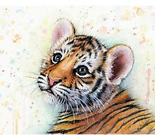 Tiger Cub Watercolor Painting Photographic Print