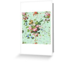 Vintage rose flowers floral roses pattern turquoise background antique print Greeting Card