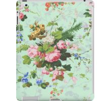 Vintage rose flowers floral roses pattern turquoise background antique print iPad Case/Skin