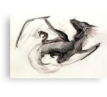 Black Watercolor Dragon Canvas Print