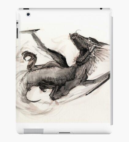 Black Watercolor Dragon iPad Case/Skin