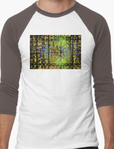 Colorful Psychedelic Abstract Fractal Art Men's Baseball ¾ T-Shirt