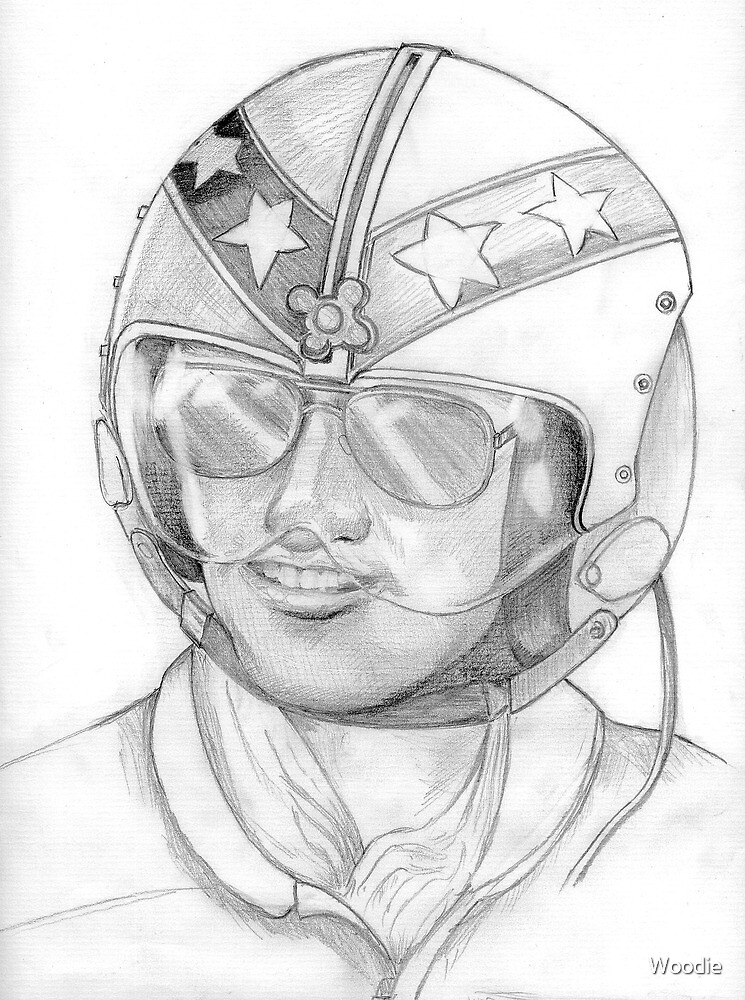 Top Gun 1980s, Pilot in pencil by Woodie
