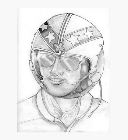 Top Gun 1980s, Pilot in pencil Photographic Print