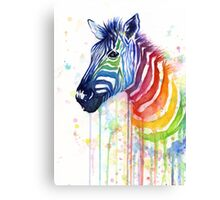 Rainbow Zebra Watercolor Canvas Print
