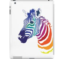 Rainbow Zebra Portrait, Colorful Animal Art iPad Case/Skin