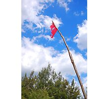Pink flag pole Photographic Print
