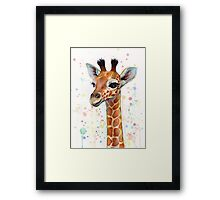Baby Giraffe Watercolor Painting Framed Print