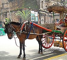 Kalesa or Calesa in Binondo Church, Philippines by walterericsy
