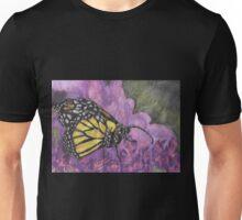 Yellow Butterfly on Purple Flowers Unisex T-Shirt