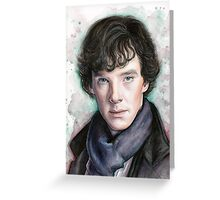Sherlock Holmes Portrait, Benedict Cumberbatch, Art Greeting Card