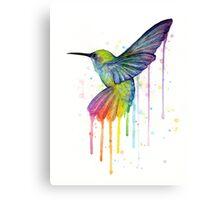 Rainbow Hummingbird Watercolor Canvas Print
