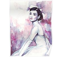Audrey Hepburn Watercolor Fashion Portrait Poster