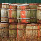 Barrels with Green by Debbie  Roberts