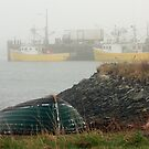 Boats and Dory in Fog by Debbie  Roberts