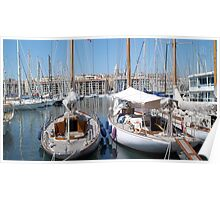 Two sailboats in the port Poster