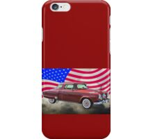 Studebaker Champian Antique Car And American Flag iPhone Case/Skin