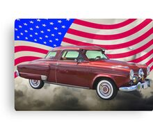 Studebaker Champian Antique Car And American Flag Canvas Print