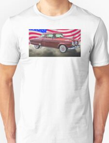 Studebaker Champian Antique Car And American Flag Unisex T-Shirt