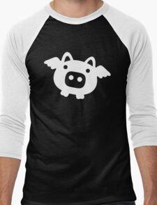 Flying Pig White Men's Baseball ¾ T-Shirt