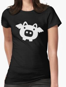 Flying Pig White Womens Fitted T-Shirt