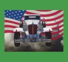 1929 Cord 6-29 Cabriolet Antique Car With American Flag Kids Clothes