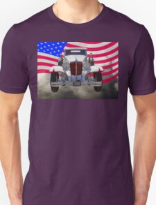1929 Cord 6-29 Cabriolet Antique Car With American Flag Unisex T-Shirt