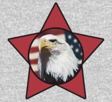 Bald Eagle & Red Star T-Shirt by Mark Podger