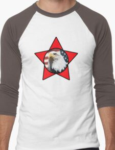 Bald Eagle & Red Star T-Shirt Men's Baseball ¾ T-Shirt