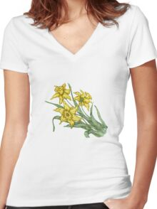 "Daffodils ""t"" Women's Fitted V-Neck T-Shirt"