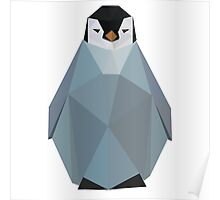 Cute Polygon Baby Penguin Poster