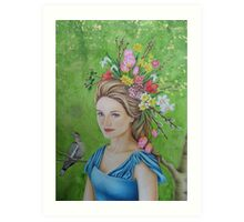Spring flowers in her hair Art Print