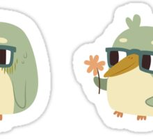 Cute Green Penguin Character Sticker