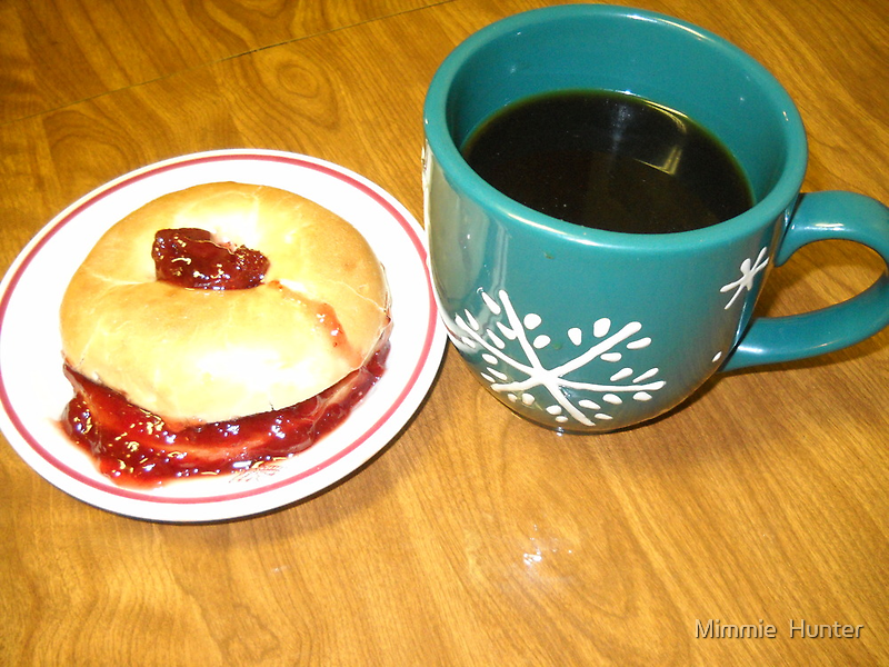Coffee-N- Bagel With Strawberry Preserve by Mimmie Hunter