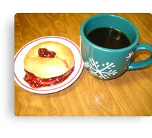 Coffee-N- Bagel With Strawberry Preserve Canvas Print