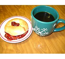 Coffee-N- Bagel With Strawberry Preserve Photographic Print