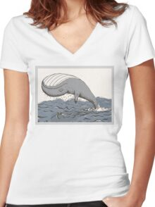 Whale of a Day Women's Fitted V-Neck T-Shirt