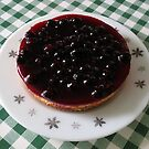 Blackcurrant Cheesecake on Retro Pyrex Plate by BlueMoonRose