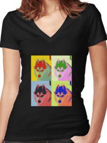 Retro Husky  Women's Fitted V-Neck T-Shirt