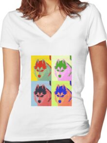 Retro Husky  Women's Fitted V-Neck T-Shirt