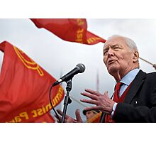 Tony Benn keeps the red flag flying Photographic Print