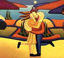 Structured lovers with musicians by lake by Alan Kenny