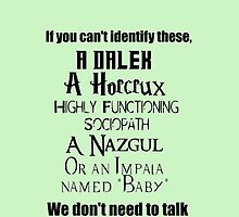 Fandoms, Supernatural, Harry Potter, LOTR, Sherlock, Dr Who crossover, humor, by NerdGirlTees