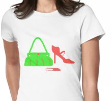 RED and Green Bag-Shoes-Lippy  T Shirt Womens Fitted T-Shirt