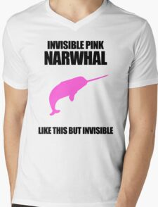 Invisible Pink Narwhal Mens V-Neck T-Shirt