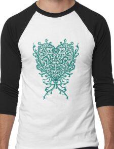Peacock Heart Tee Dark Men's Baseball ¾ T-Shirt